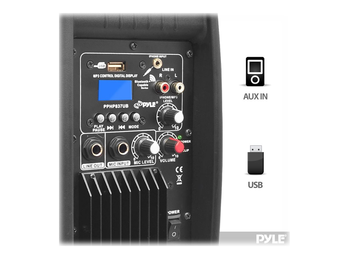 Pyle 8 600 Watt Bluetooth Powered Speaker System with USB Flash Reader, AUX MP3 Input, PPHP837UB