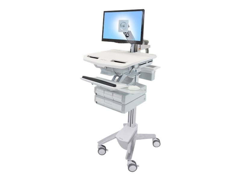 Ergotron StyleView Cart with LCD Arm, 4 Drawers, SV43-1240-0, 18024609, Computer Carts - Medical