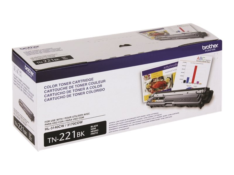 Brother Black Standard Yield Toner Cartridge for HL-3140CW, HL-3170CDW, MFC-9130CW & MFC-9330CDW, TN221BK, 15481732, Toner and Imaging Components