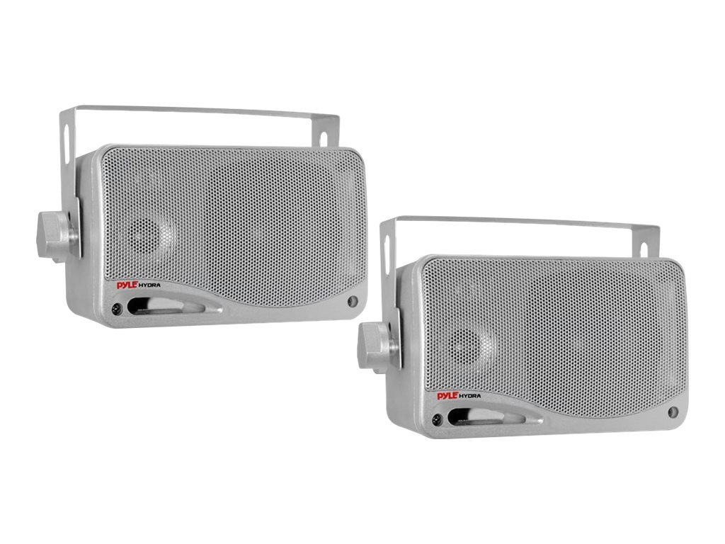 Pyle 3.5 3-Way Weatherproof Mini Box Speaker System - Silver, PLMR24S, 17436214, Speakers - Audio