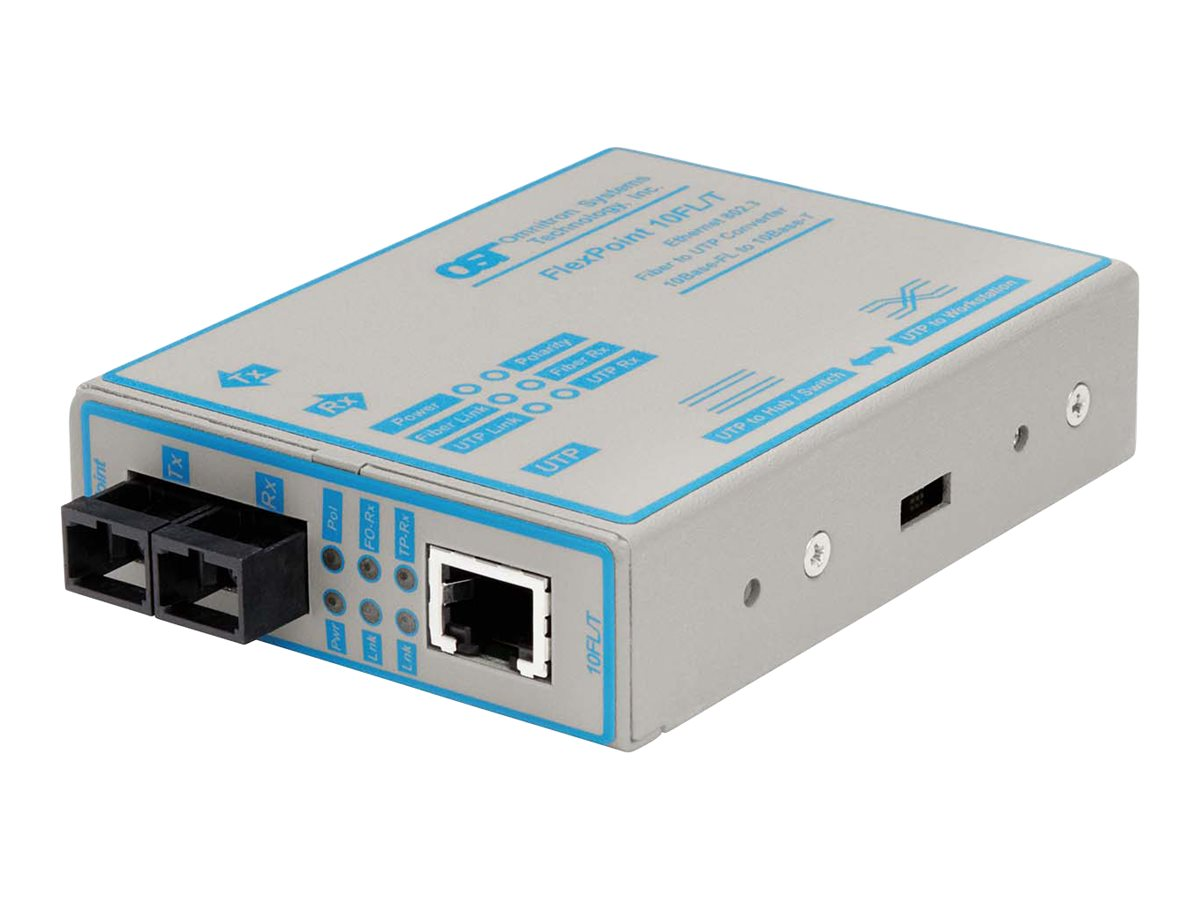 Omnitron FlexPoint 10FL T Media Converter 10BaseT to 10BaseFL, 4303-1, 209903, Network Transceivers