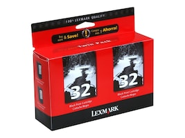Lexmark #32 Black Ink Cartridge for X5250, 5270 & Z816 Printers (Twin Pack), 18C0533, 4875146, Ink Cartridges & Ink Refill Kits