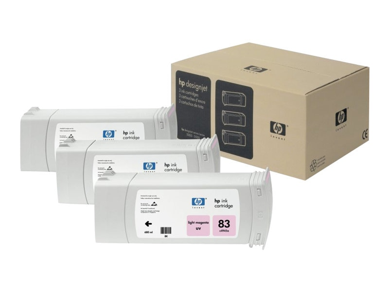 HP 83 Light Magenta UV Ink Cartridges (3-pack), C5077A, 469333, Ink Cartridges & Ink Refill Kits
