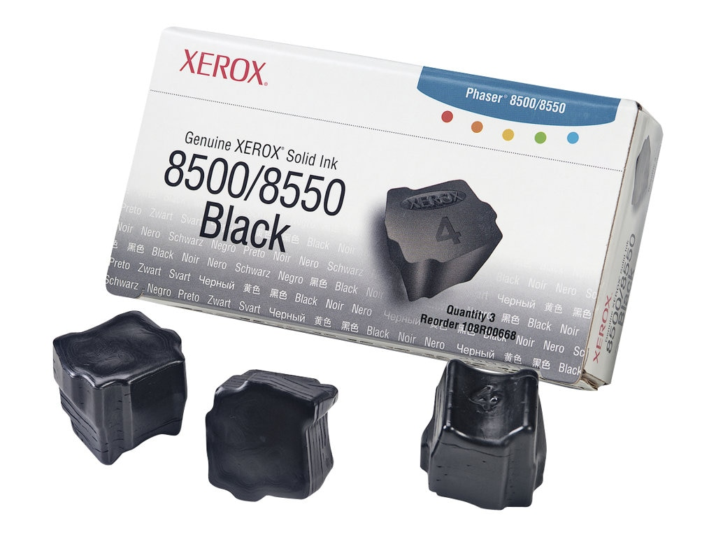 Xerox Black Solid Ink Sticks for Phaser 8500 & 8550 Printers (3-pack), 108R00668, 5879190, Toner and Imaging Components