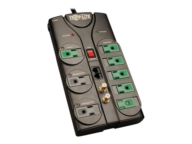 Tripp Lite Eco-Surge Energy-Saving Surge Suppressor (8) Outlets, 8ft cord, 2880 Joules, Tel Network Coax Prot