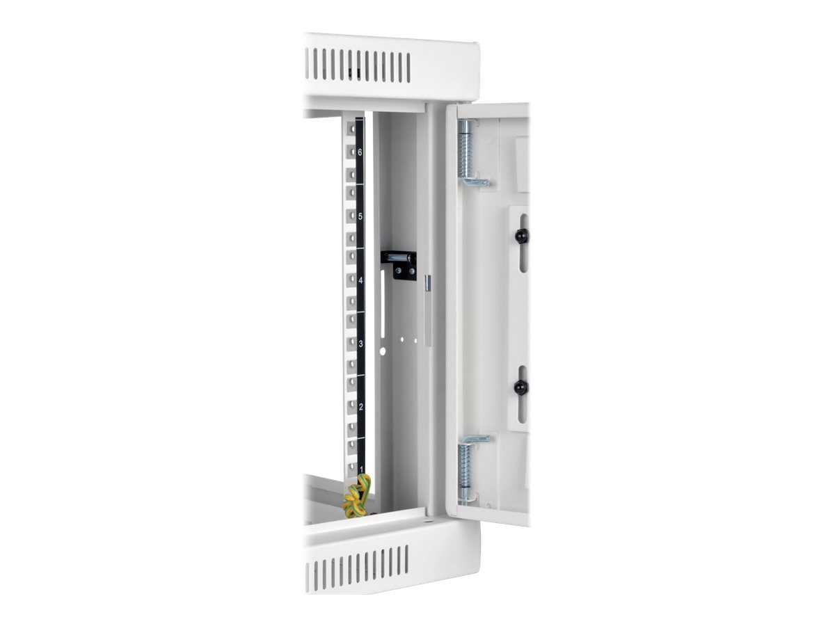 Tripp Lite SmartRack 6U Low-Profile Switch-Depth Wall-Mount Rack Enclosure Cabinet with Clear Window, White, SRW6UWG