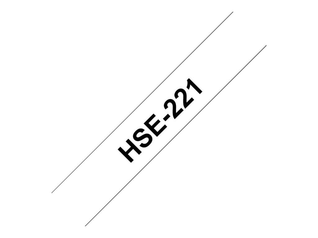 Brother 0.34 x 4.9' Heat Shrink Tubing - Black on White, HSE221, 16306426, Paper, Labels & Other Print Media
