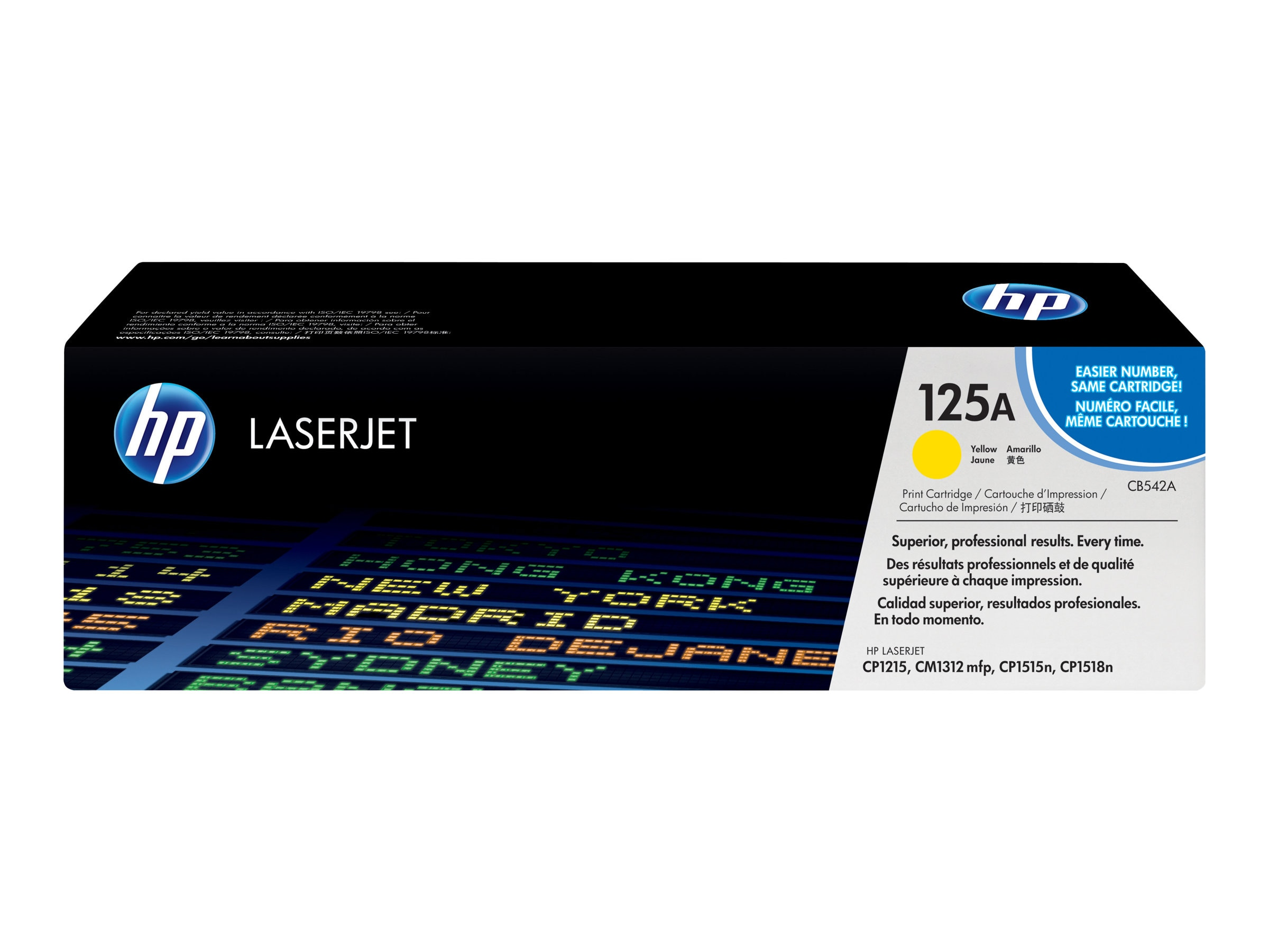 HP 125A (CB542A) Yellow Original LaserJet Toner Cartridge for HP Color LaserJet CP1215 & CP1515, CB542A, 8484169, Toner and Imaging Components