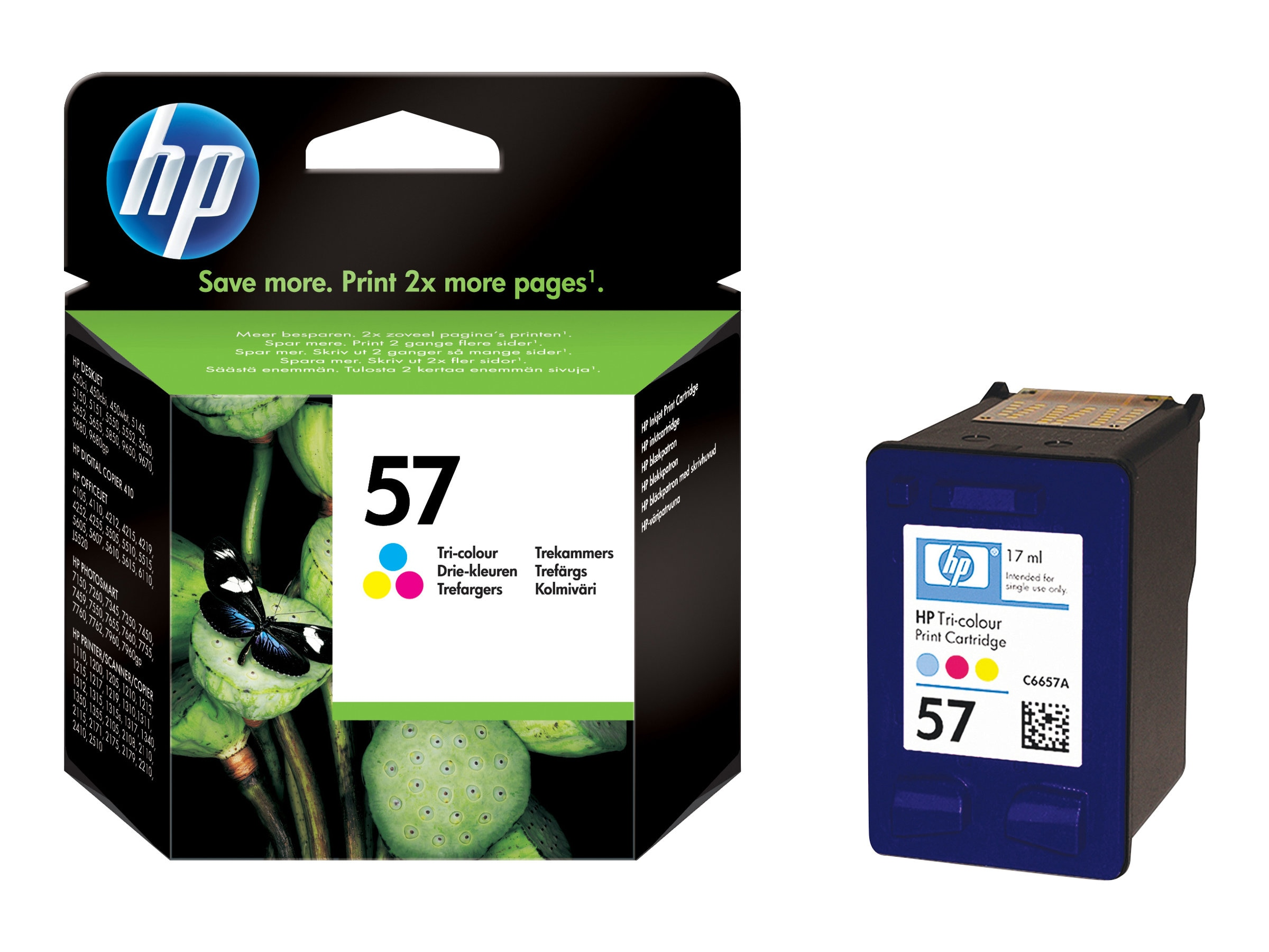 HP 57 (C6657AN) Tri-color Original Ink Cartridge, C6657AN#140, 8156211, Ink Cartridges & Ink Refill Kits