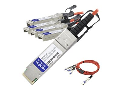 ACP-EP 40GBASE-AOC QSFP+ to 4x SFP+ Direct Attach Active Optical Cable, 5m, QSFP-4X10G-AOC5M-AO, 17772584, Cables