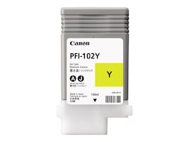 Canon Yellow PFI-102Y Ink Tank for imagePrograf 500, 600 & 700, 0898B001AA, 7022430, Ink Cartridges & Ink Refill Kits