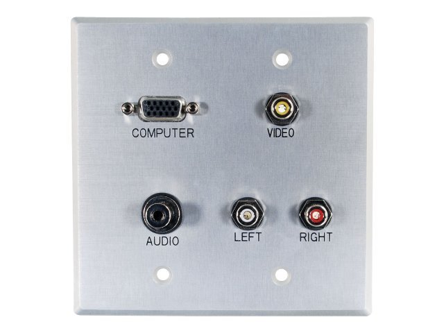 C2G Double Gang HD15, 3.5mm, Composite Video, Stereo Audio Wall Plate, Aluminum, 40506, 10115830, Premise Wiring Equipment