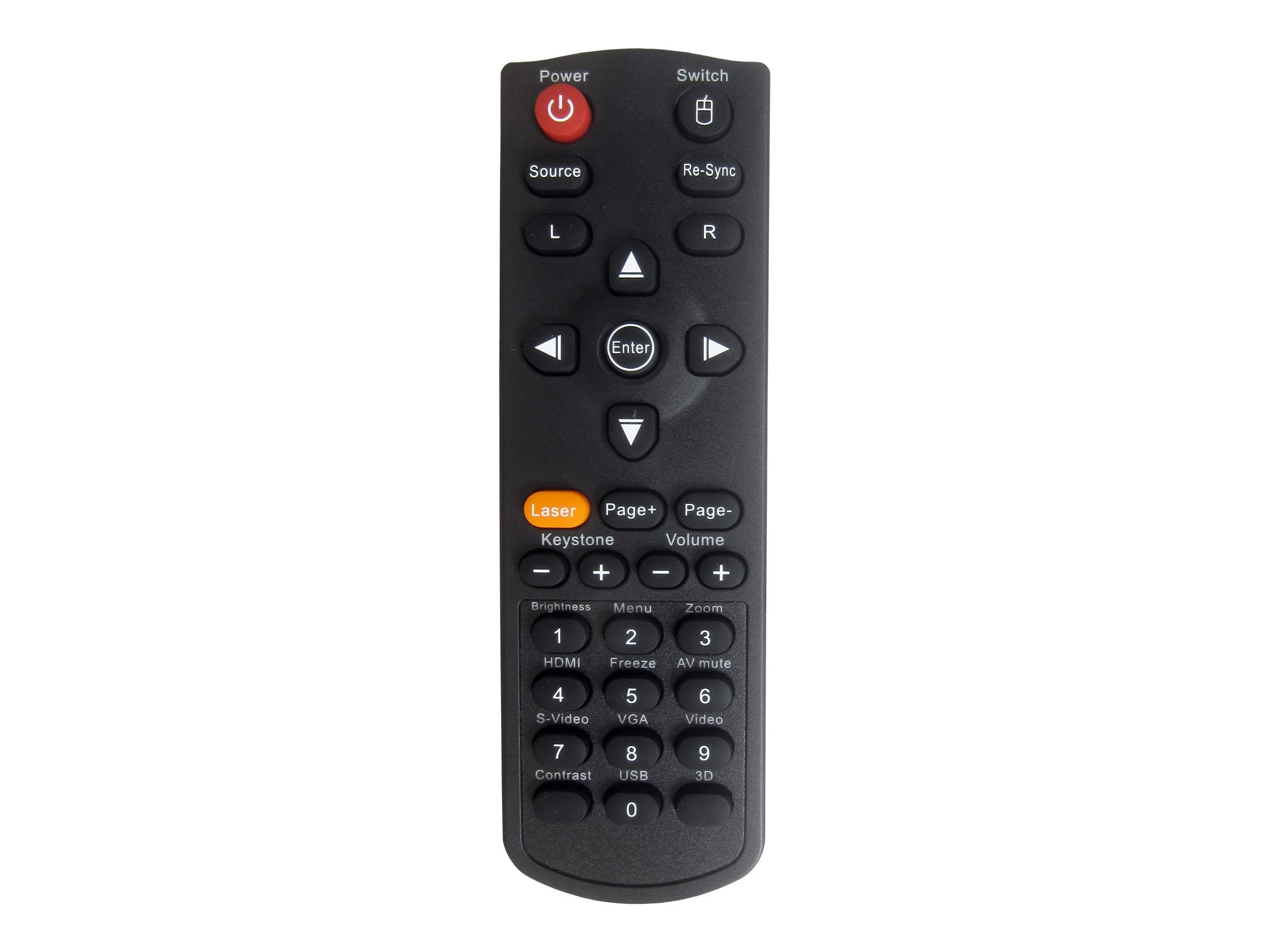 Optoma Remote with Laser and Mouse Control for ZX210ST, ZW210ST, BR-5038L, 15393695, Projector Accessories