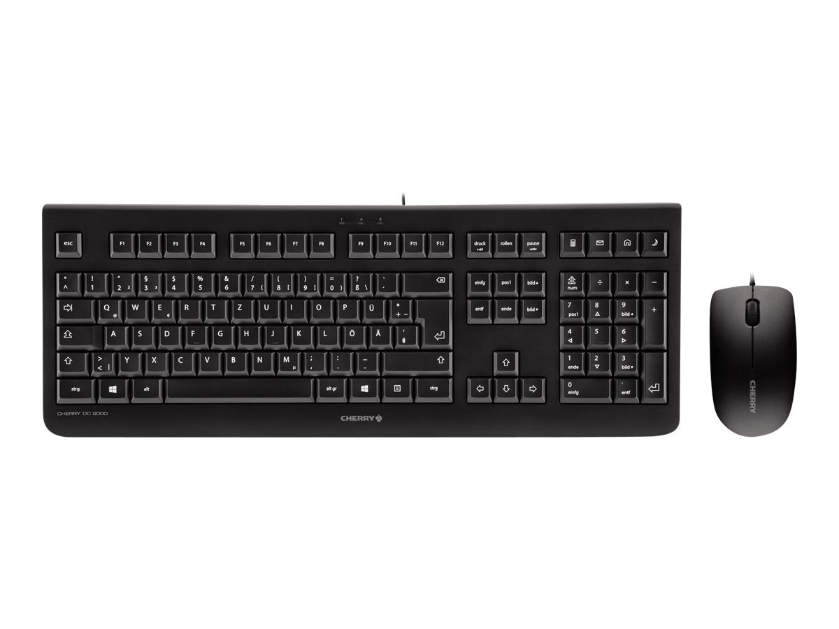 Cherry DC2000 USB Keyboard Mouse Combo 104+4 Key 3-Button Symmetrical Mouse, Black