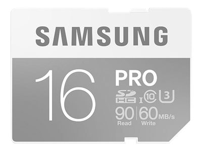 Samsung 16GB Pro SDHC U3 Flash Memory Card, Class 10, MB-SG16E/AM, 30546400, Memory - Flash