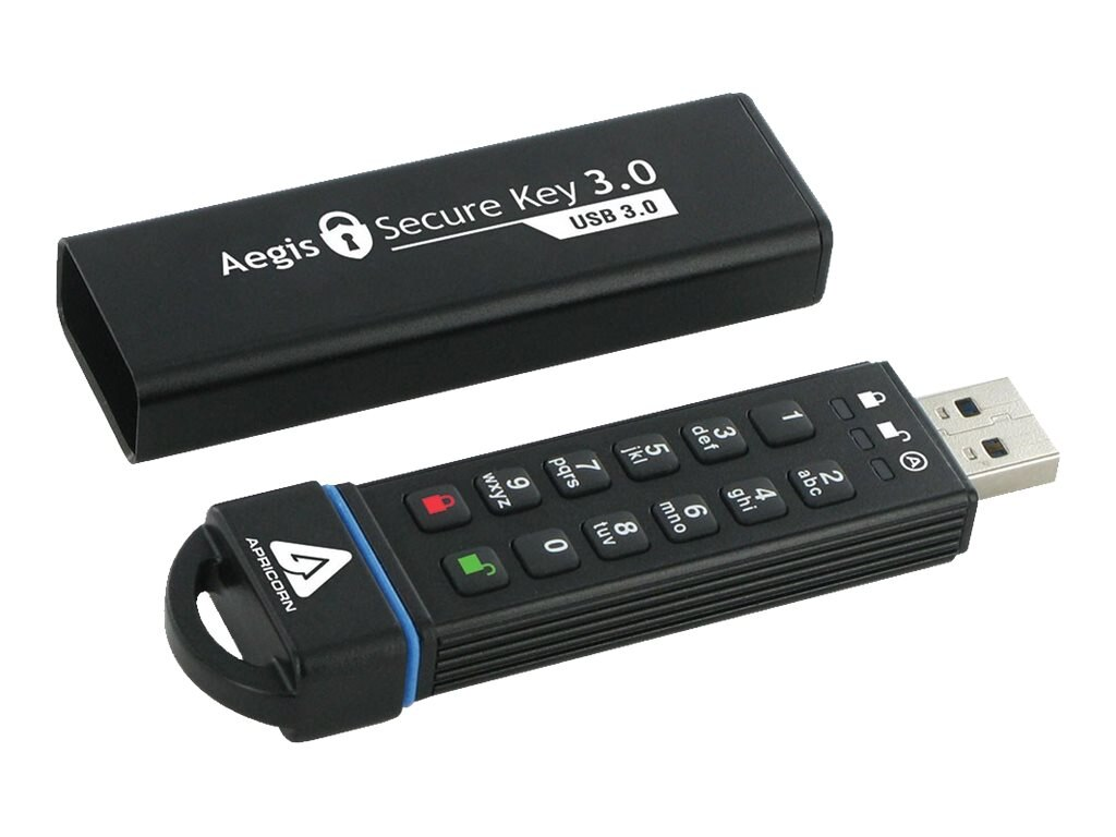 Apricorn 30GB Secure Key 3.0 USB 3.0 Encrypted Flash Drive with PIN Access