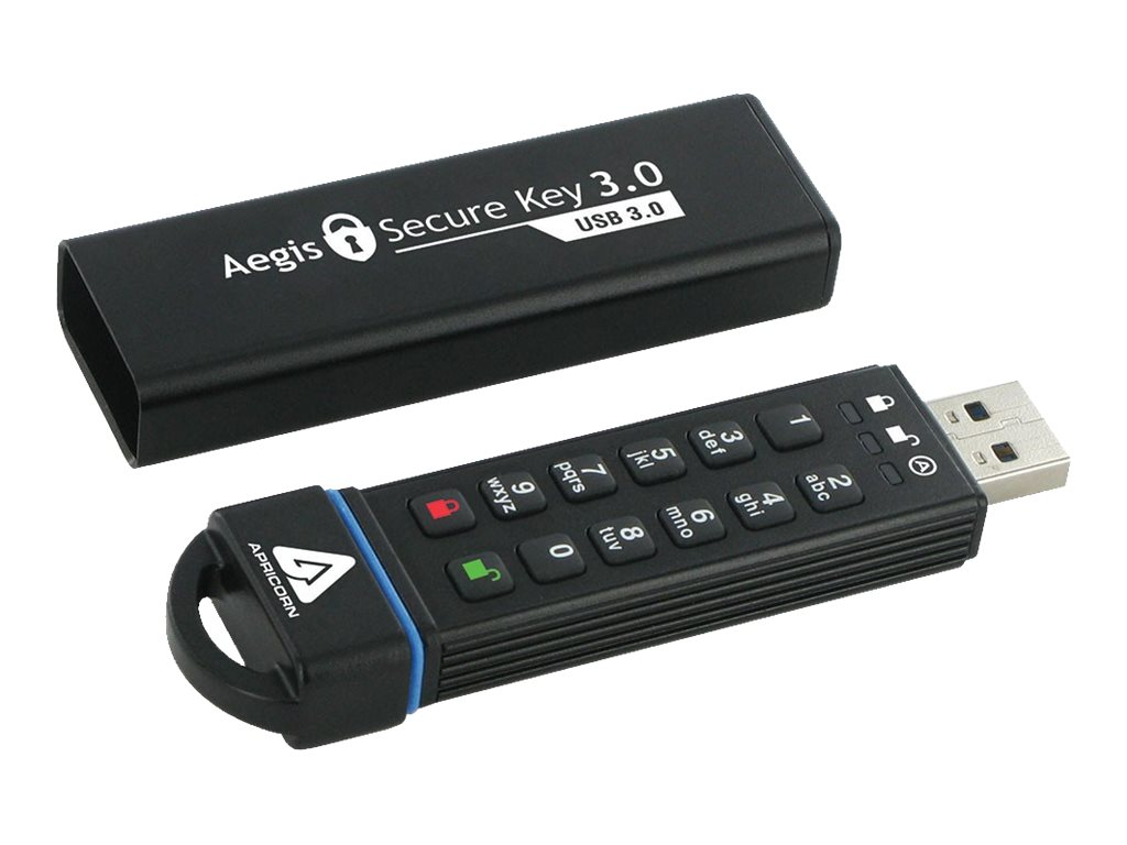 Apricorn 30GB Secure Key 3.0 USB 3.0 Encrypted Flash Drive with PIN Access, ASK3-30GB, 18181532, Flash Drives