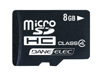 Dane Electronics 8GB microSD Card with SD Adapter, DA-2IN1-08G-R, 13533009, Memory - Flash
