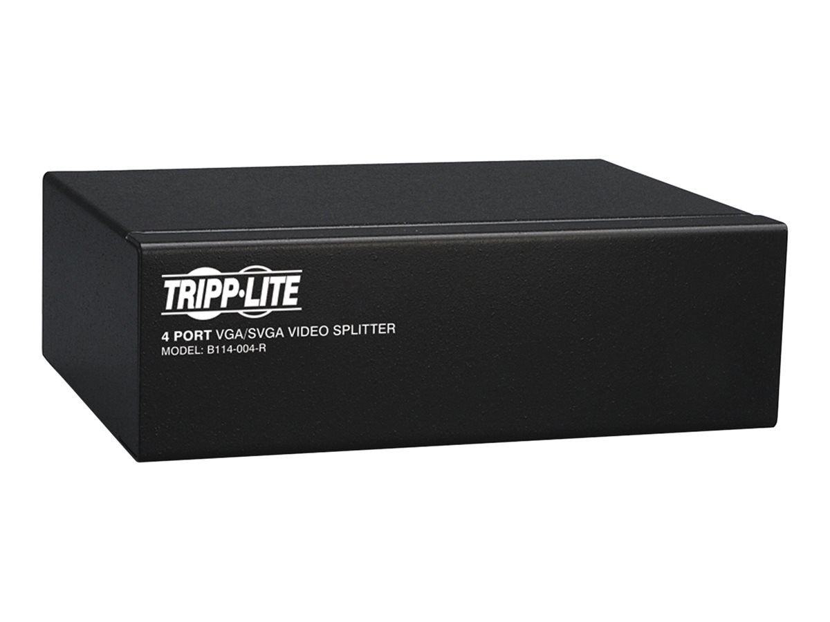 Tripp Lite 4-Port VGA SVGA 350MHz Video Splitter with Signal Booster, HD15 M 4xF, B114-004-R, 230966, Video Extenders & Splitters
