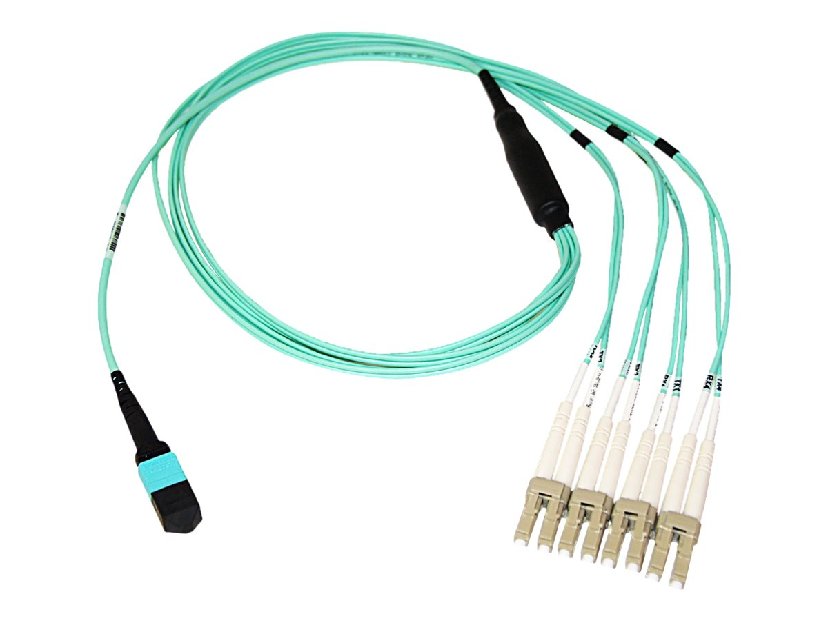 Axiom MPO to 4x LC 50 125 OM4 Multimode Fiber Optic Breakout Cable, 8m