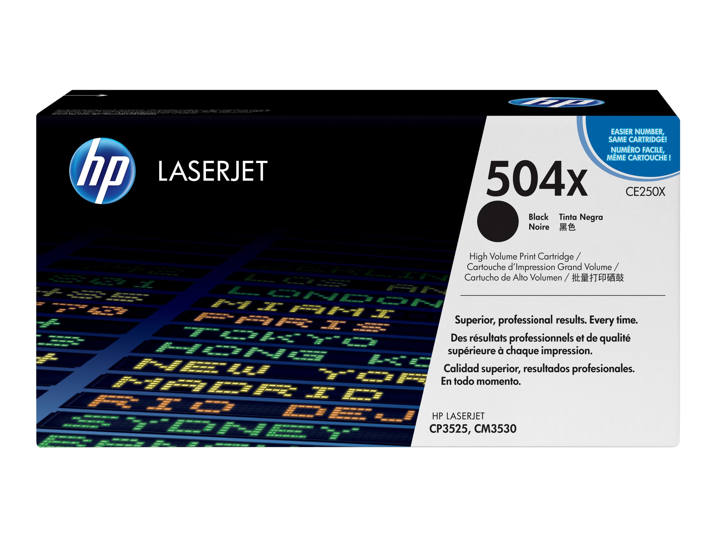 HP 504X (CE250X) High Yield Black Original LaserJet Toner Cartridge, CE250X, 8944145, Toner and Imaging Components
