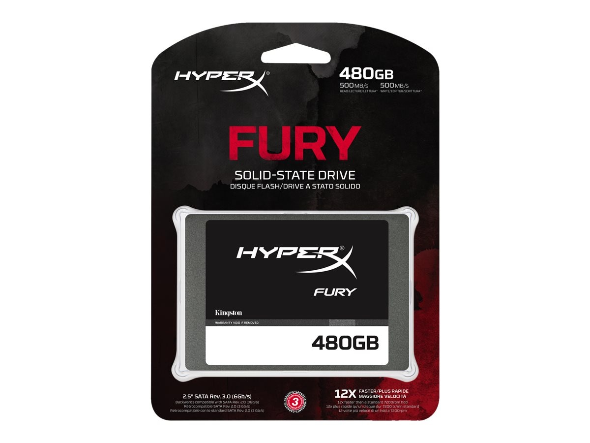 Kingston 480GB HyperX FURY SATA 6Gb s 2.5 7mm Internal Solid State Drive w  Adapter, SHFS37A/480G, 31808782, Solid State Drives - Internal