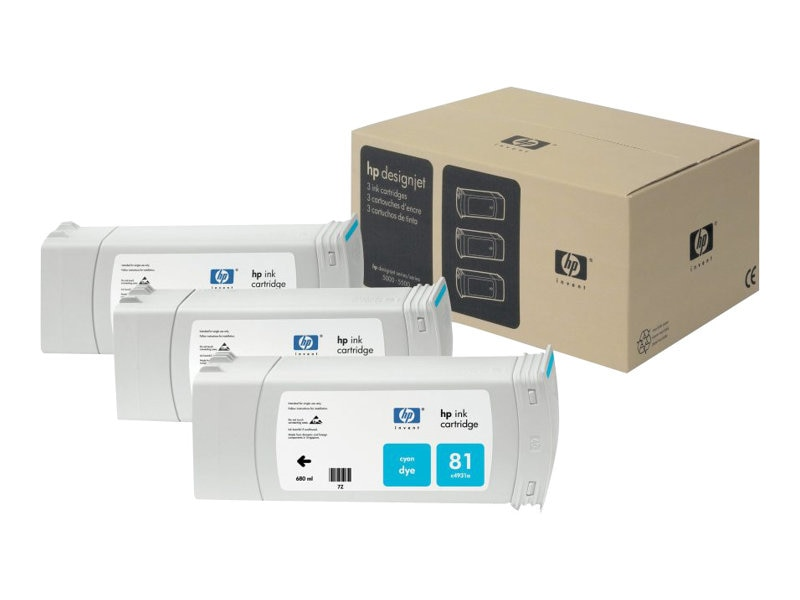 HP 81 Cyan Ink Cartridge (3-pack), C5067A, 469225, Ink Cartridges & Ink Refill Kits