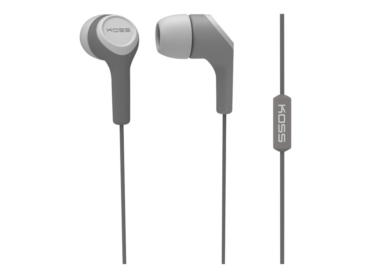 Koss Noise Isolating In-Ear with In-Line Mic, Gray, KEB15IG