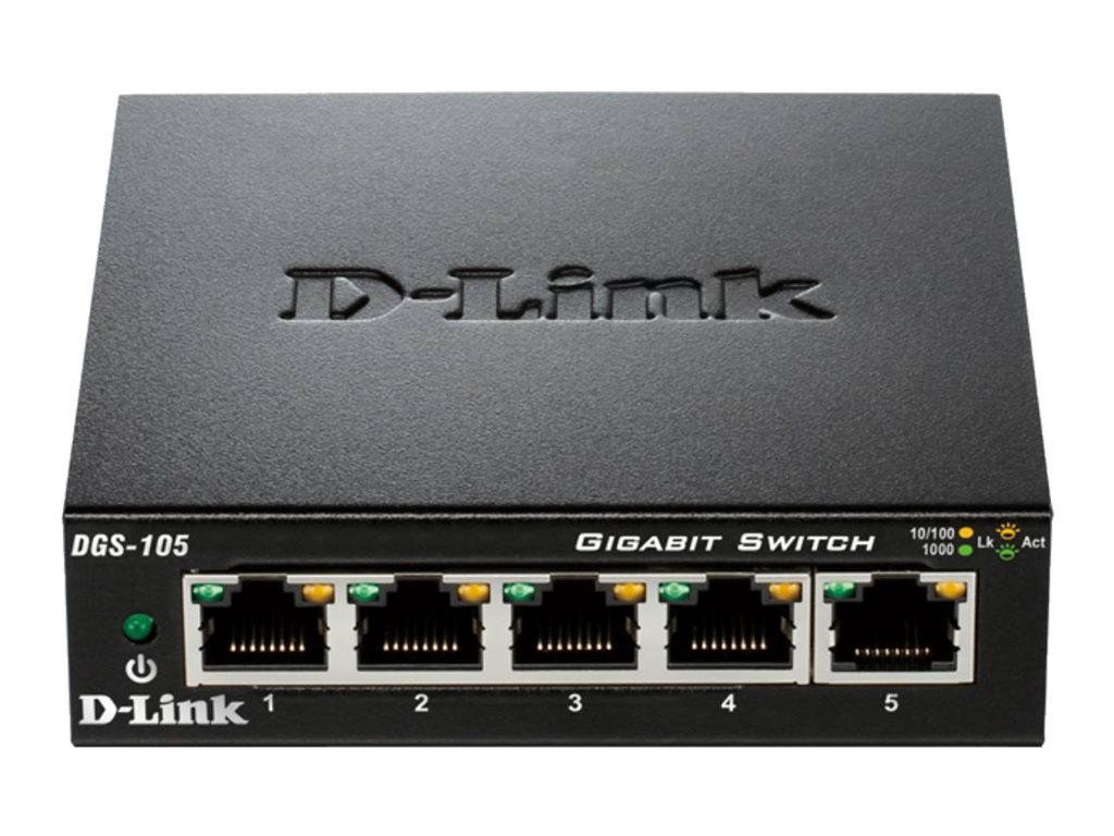 D-Link 5-Port Gigabit Ethernet Switch, Metal Chassis, DGS-105