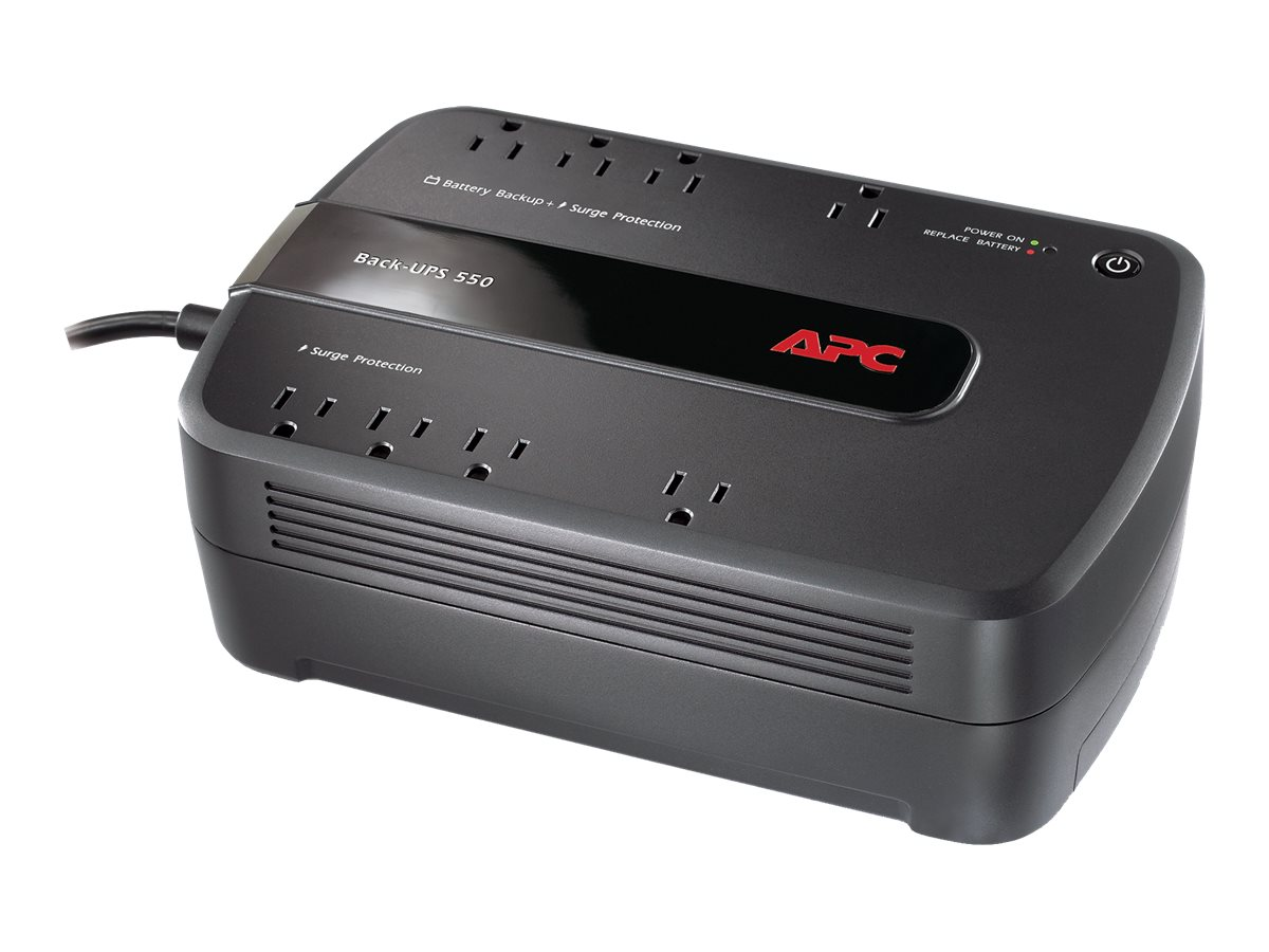 APC Back-UPS ES 550VA 120V Standby UPS, Green Edition, (8) Outlets, BE550G, 9376223, Battery Backup/UPS