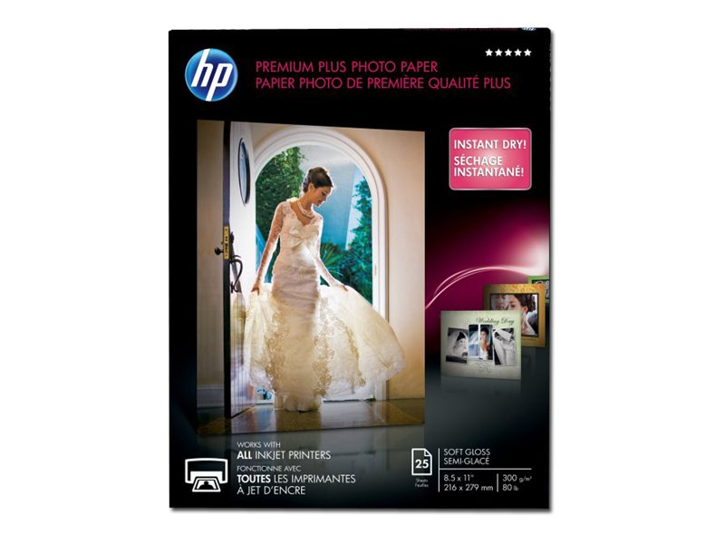 HP 8.5 x 11 Premium Plus Soft-gloss Photo Paper (25-Sheets), CR671A, 12870329, Paper, Labels & Other Print Media
