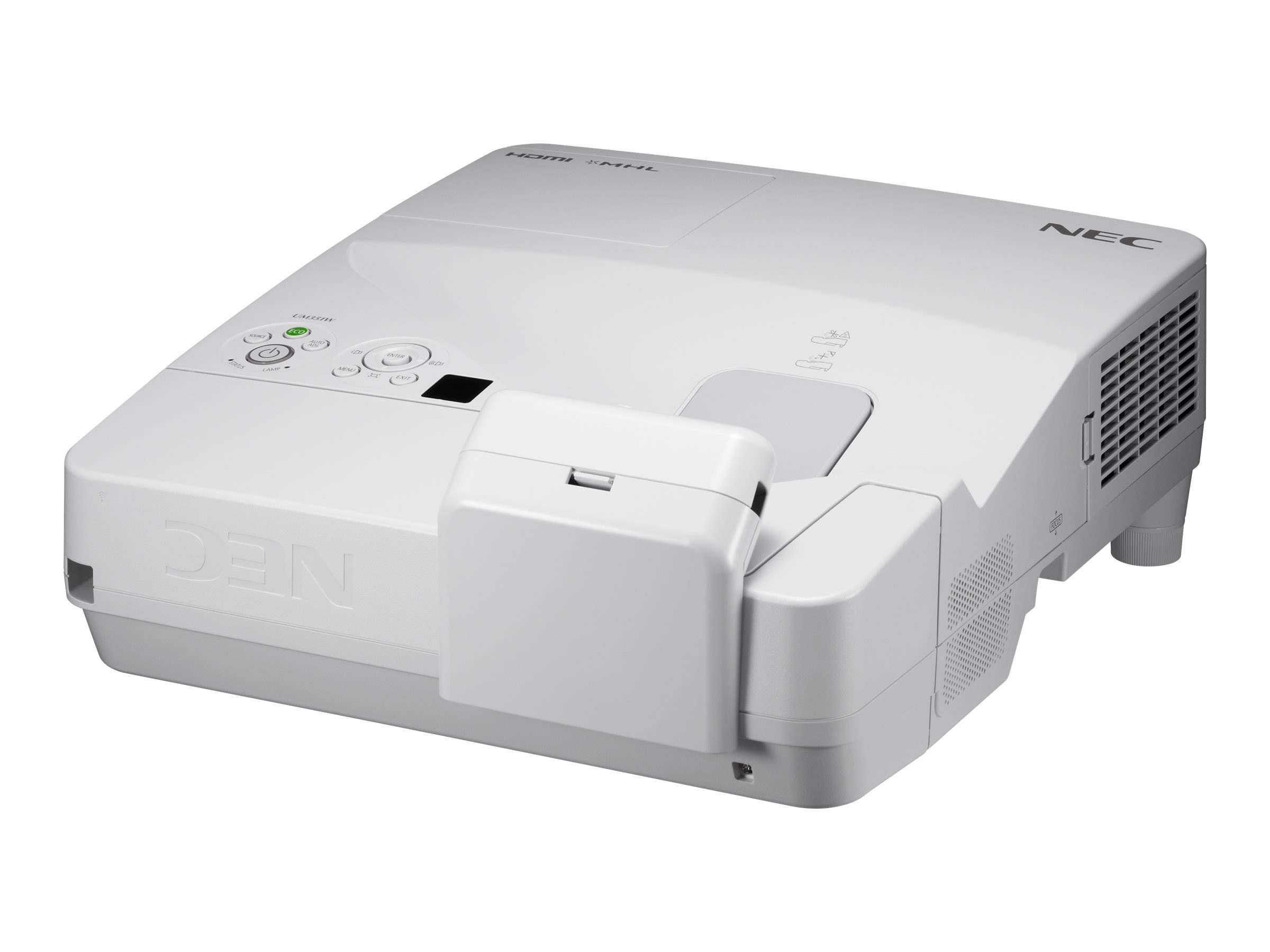 NEC UM351W Ultra Short Throw LCD Interactive Projector, 3500 Lumens, White with Touch Module, Wall Mount, NP-UM351WI-TM