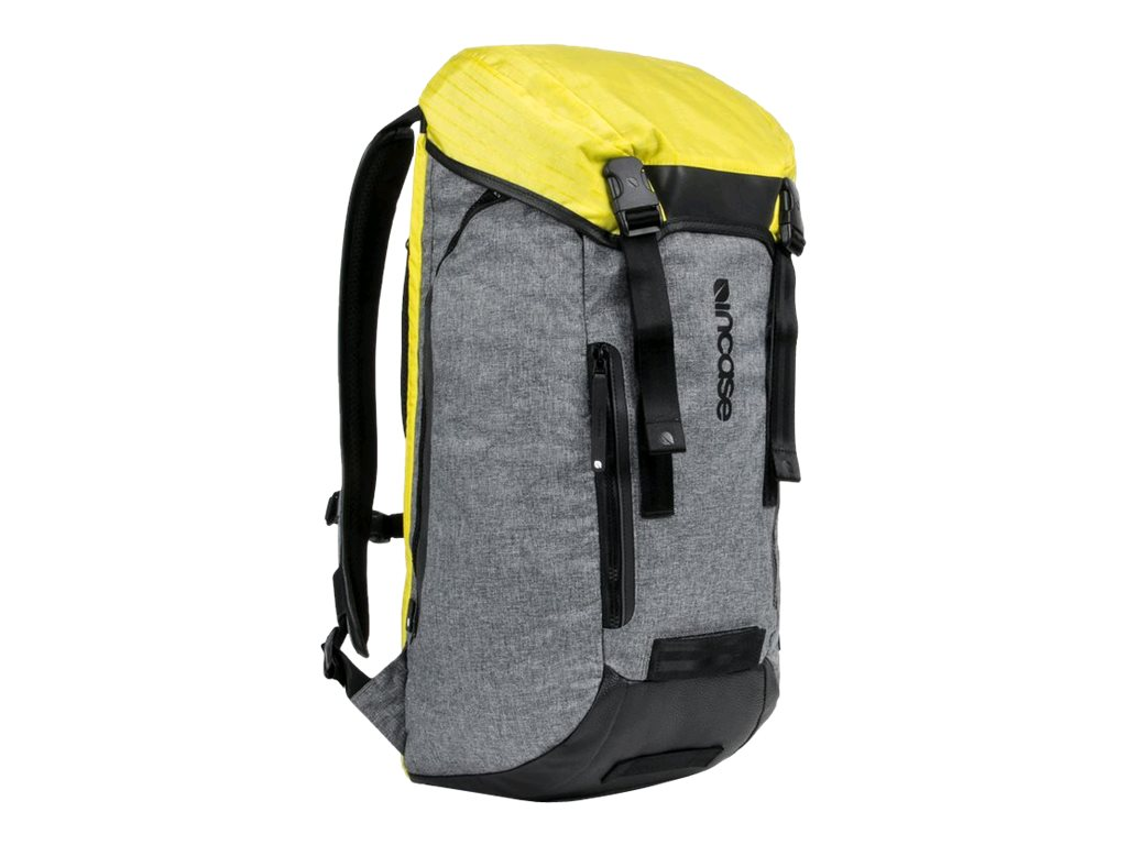 Incipio Incase Halo Courier Backpack for 17 Laptop, Heather Gray Black Yellow, CL55580