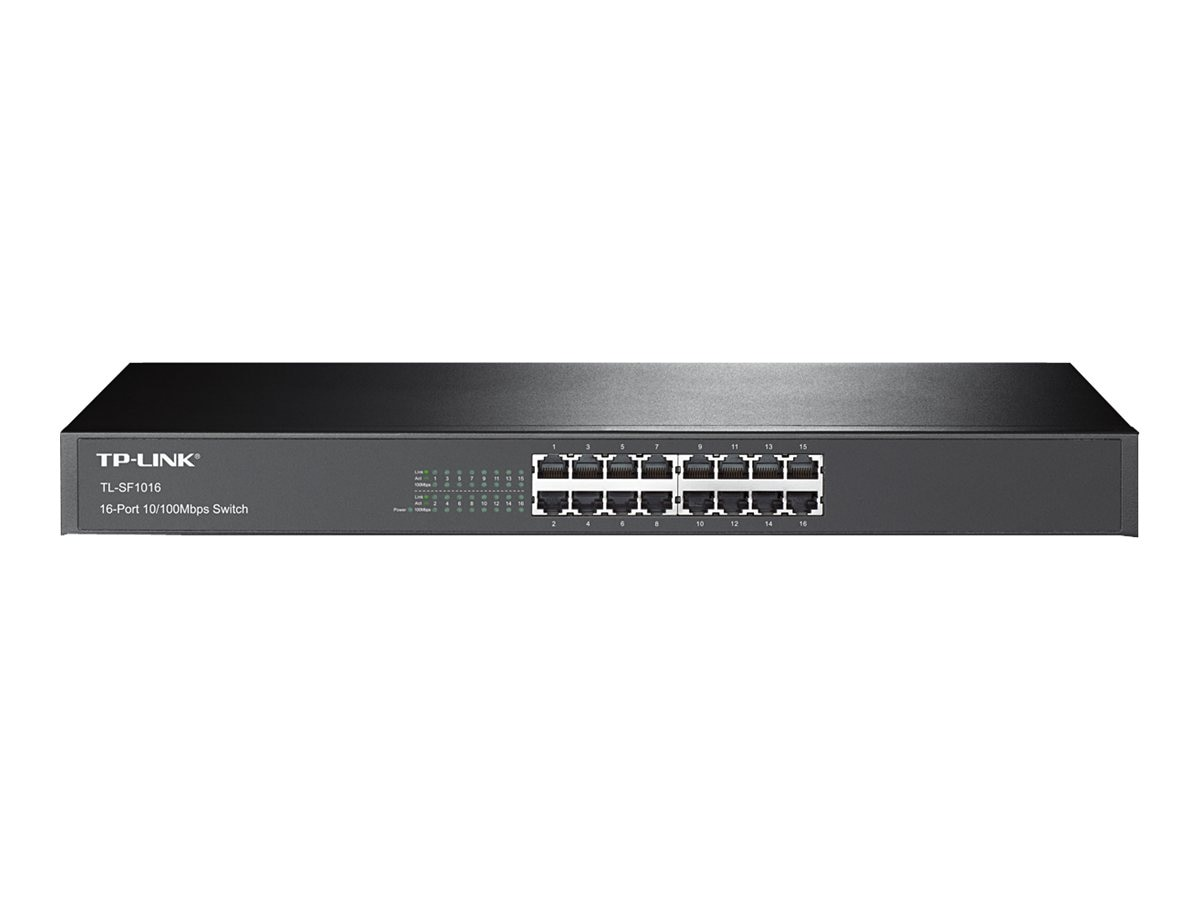 TP-LINK 19 Rackmountable 16-Port 10 100Mbps Switch, 3.2Gbps Capacity, TL-SF1016