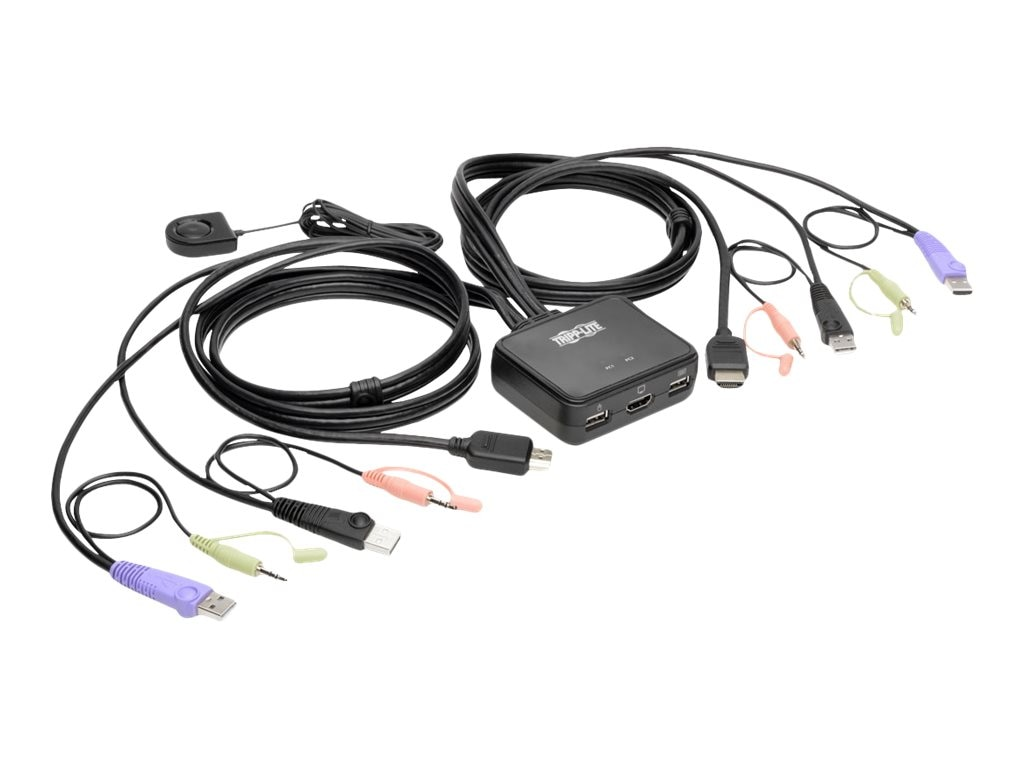 Tripp Lite 2-Port USB HD Cable KVM Switch w  Audio Video, Cables & USB Peripheral Sharing