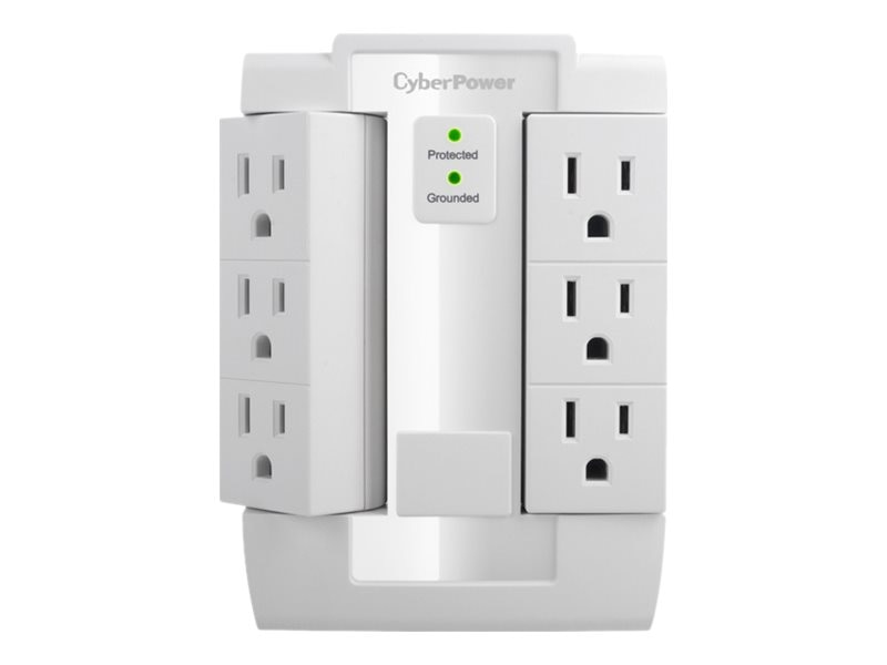 CyberPower Essential Series Surge Protector (6) Swivel-style Outlets 900 Joules Wall-tap Plug, CSB600WS, 15237529, Surge Suppressors
