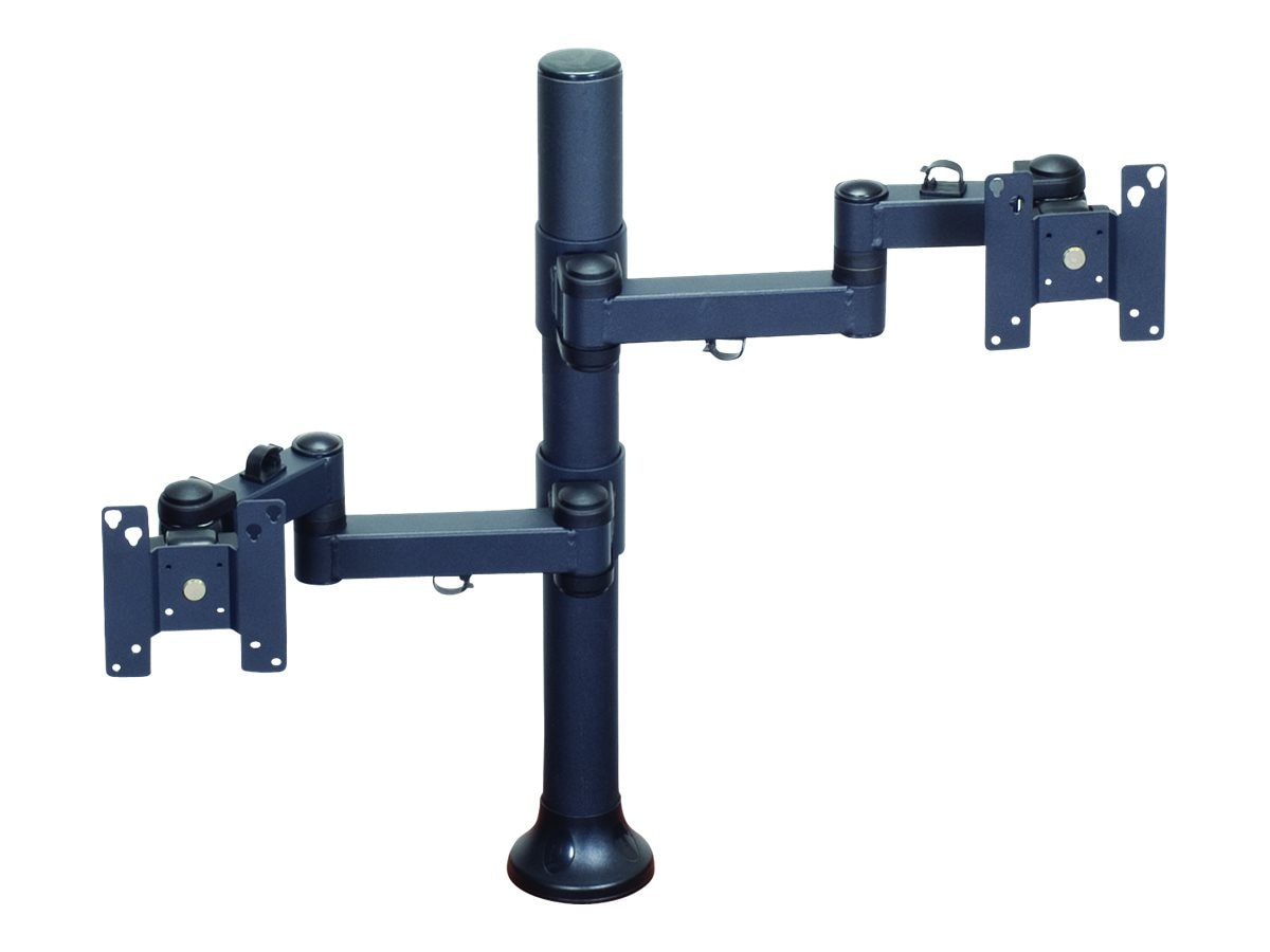 Premier Mounts Dual Display Articulating Arms on 28 Tube with Grommet Base