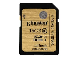 Kingston 16GB SDHC Flash Memory Card, Class 10, SDA10/16GB, 15616502, Memory - Flash