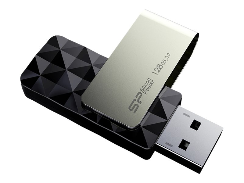 Silicon Power 128GB Blaze B30 USB 3.0 Flash Drive, Black