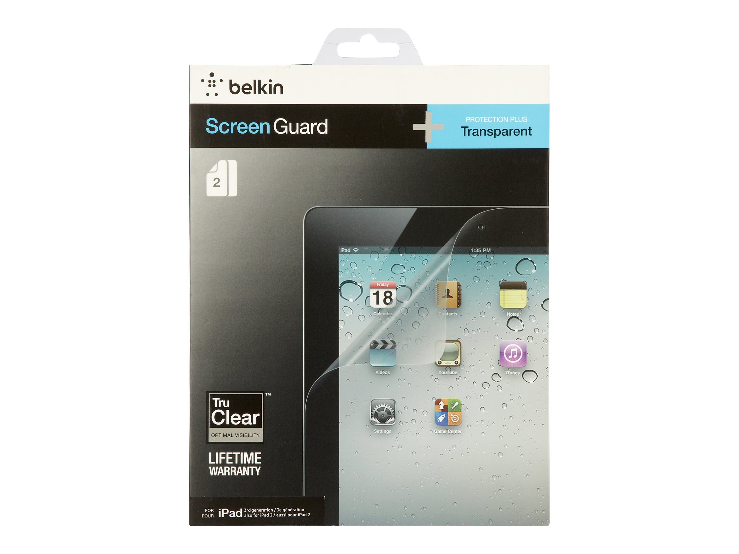 Belkin Transparent Screen Overlay for iPad 3G (2-Pack), F8N798TT2, 14557061, Protective & Dust Covers