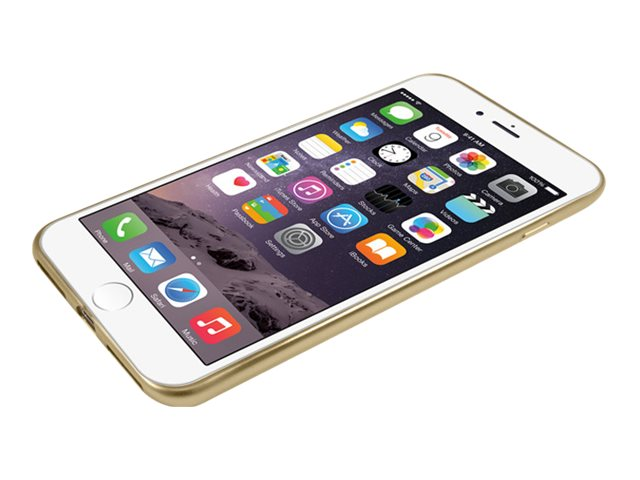 Macally Ultra Thin Soft Transparent Case w  Matte Gold Trim for iPhone 7