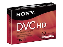 Sony 63 Minute Mini DV HD Video Cassette, DVM63HDR, 8542154, Video Tape Media