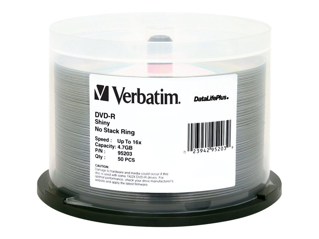 Verbatim 16x 4.7GB DataLifePlus Shiny Silver DVD-R Media (50-pack Spindle), 95203