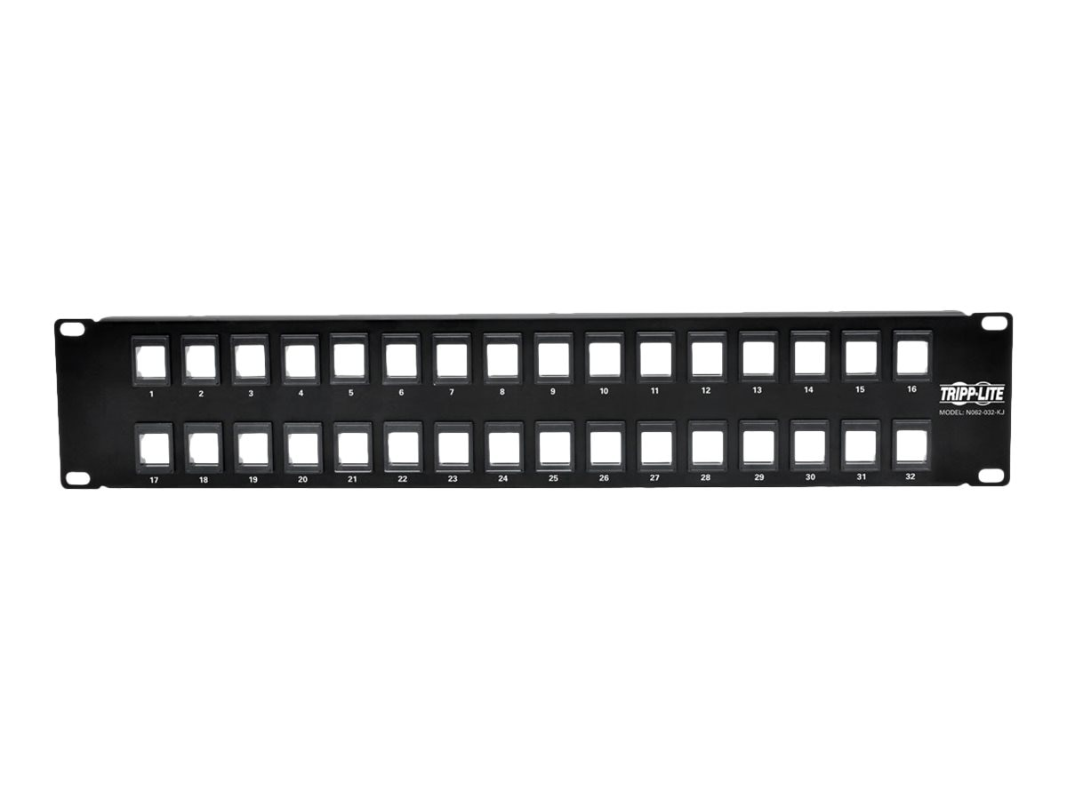 Tripp Lite 32-Port 2U RM Unshielded Blank Keystone Multimedia Patch Panel w RJ45, USB, HDMI, Cat5e 6, N062-032-KJ