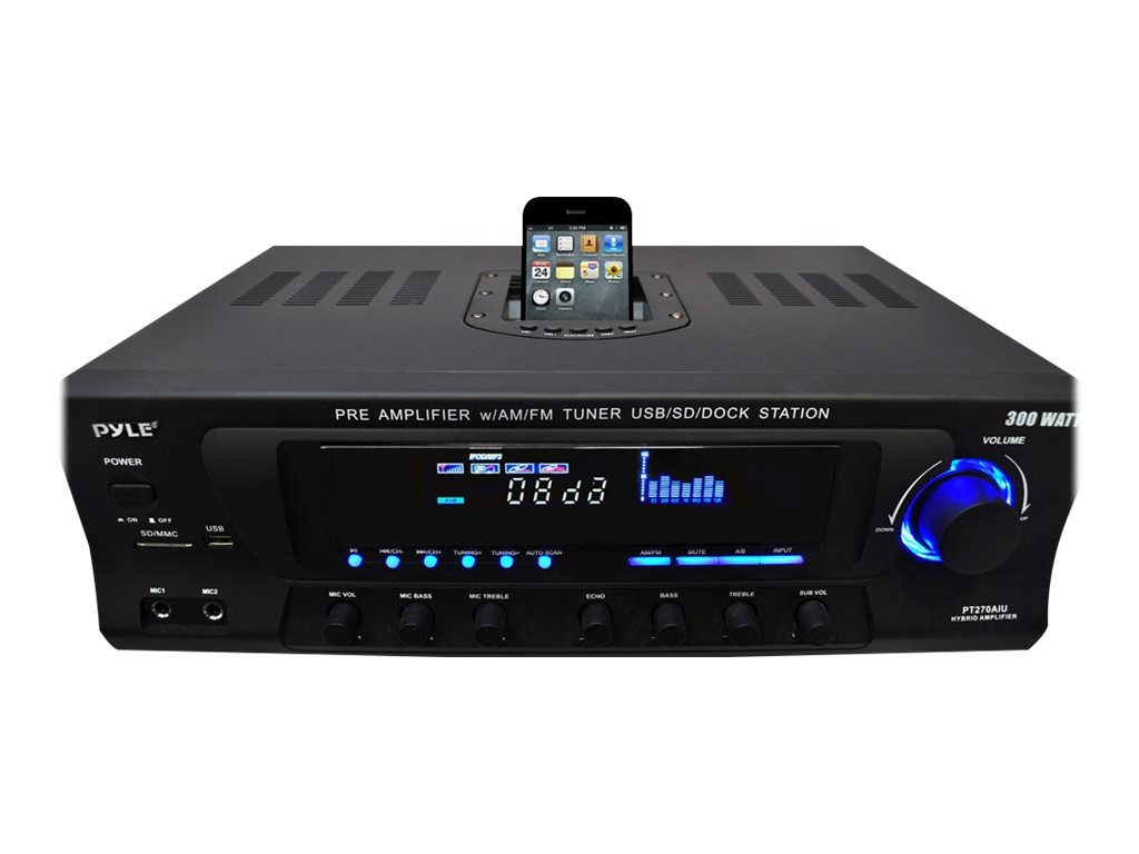 Pyle 300 Watt Stereo Receiver with Built-In iPod Docking Station, AM-FM Tuner, USB Flash & SD Card Reader