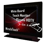 Miracle Business 42 Plasma HDTV MiracleTouch Monitor White Board, 3-in-1, Serial, Black, PL42B-IS, 6795182, Televisions - Plasma Commercial