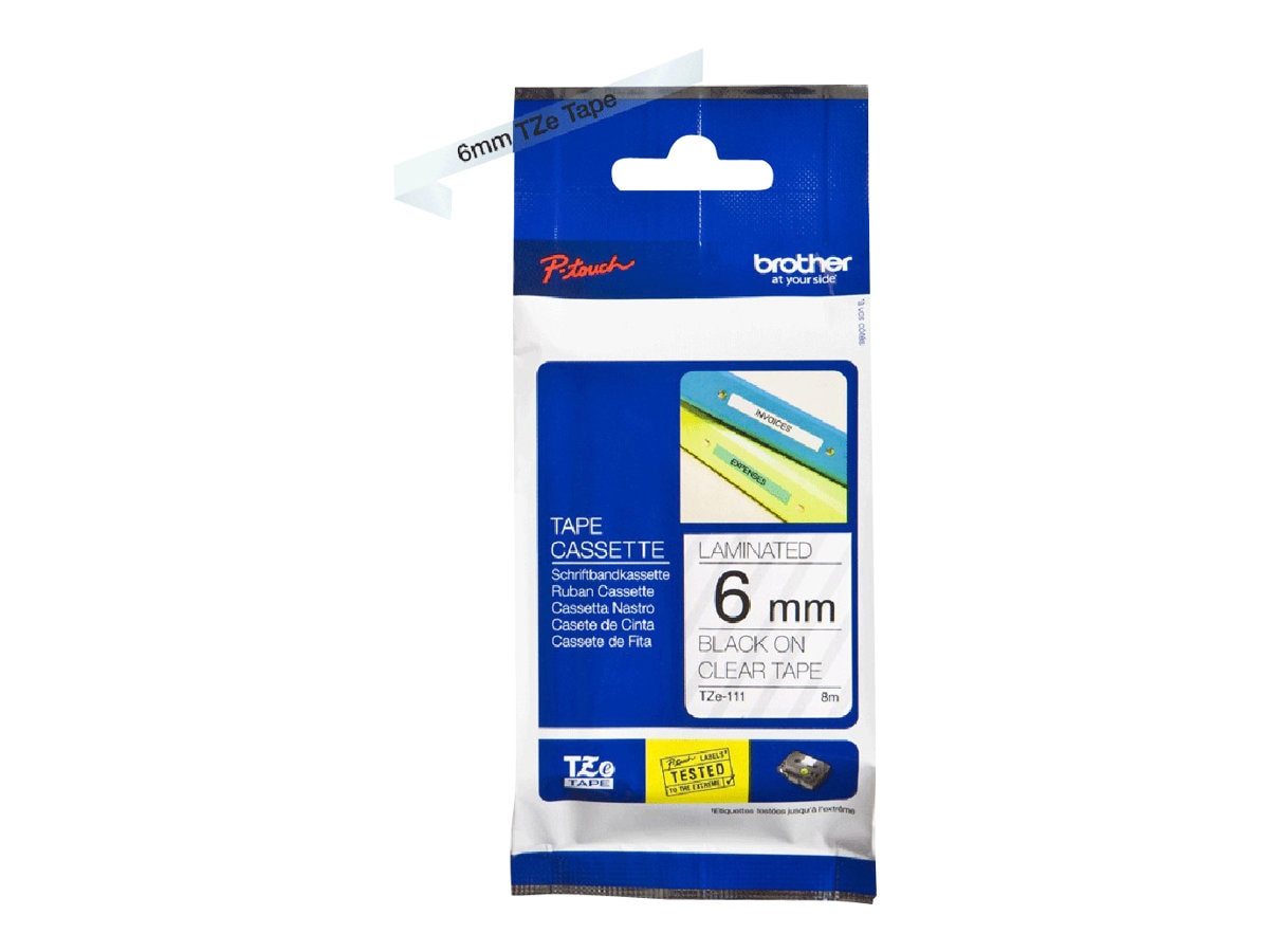 Brother 0.23 x 26.2' TZe111 Black on Clear Tape for P-Touch 8m