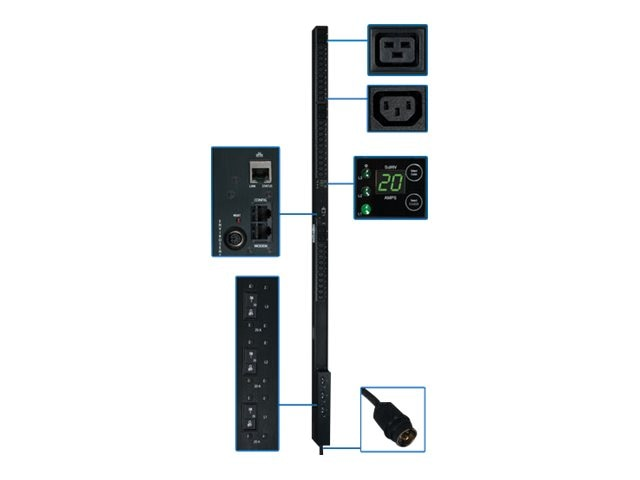 Tripp Lite PDU 3-Phase Monitored 208V 12.6kW Hubbell (30) C13 (6) C19 0U RM, PDU3VN10H50, 12428266, Power Distribution Units