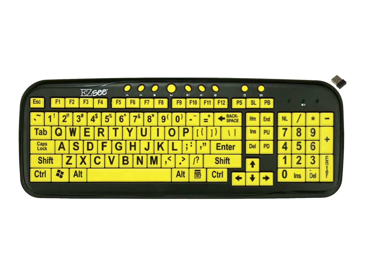 Ergoguys EZ-See Low Vision Keyboard Large Print YL Keys Wireless