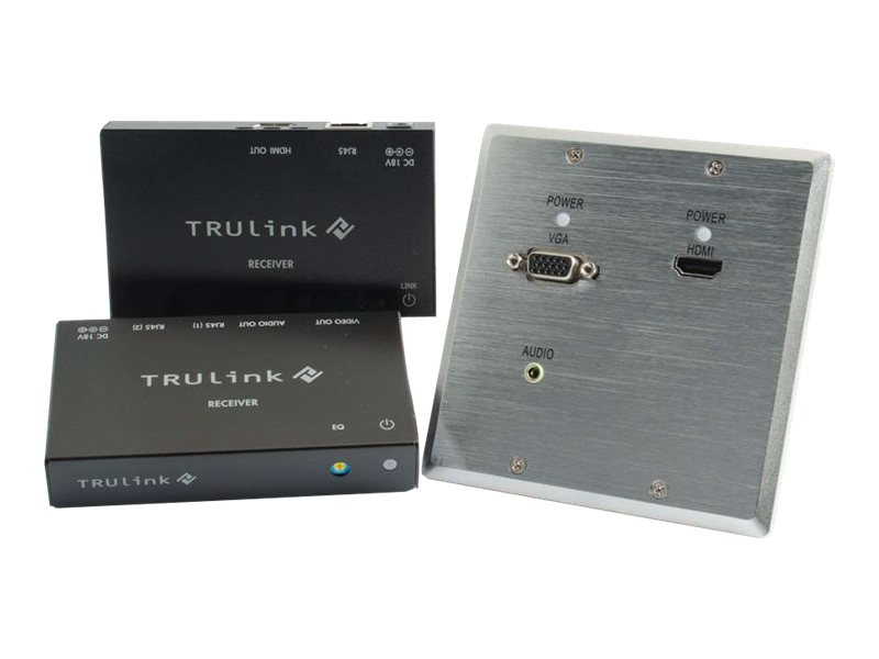 C2G TruLink HDMI VGA Stereo Audio over Cat5 Extender Aluminum Wall Plate Transmitter to Box Receiver Kit, 29214, 16912792, Video Extenders & Splitters